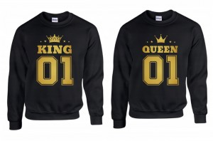 BLUZY KING 01 i QUEEN 01 ZŁOTY NADRUK