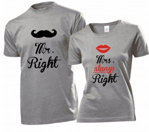 Koszulka na WALENTYNKI Mr. Right i Mrs. always Right